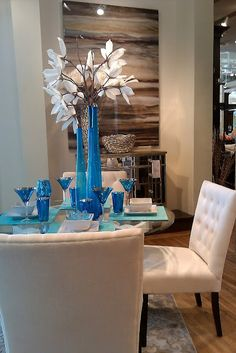 Great Inspiration For A Tablescape The Bright Blue With White POPS Visual Merchandising Color Stories At ZGallerie