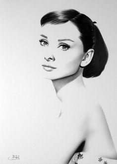 Stunning pencil drawing portrait of Audrey Hepburn = must have! Artist: Ileana Hunter (on Etsy)