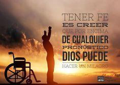Por qué dudas del poder de tu Dios? Sin importar el pronóstico Él puede hacer un milagro. #manáparaelalma #milagro #fe #esperanza #sanidad