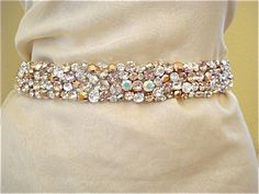 Rose Gold Blush Crystal Bridal Sash - product images  of