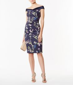 Karen Millen, Off The Shoulder Pencil Dress Multicolour