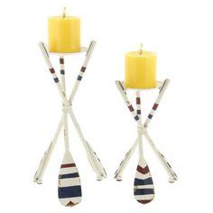 Oar 2 Piece Metal Candlestick Set