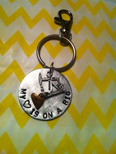 Hand stamped oil rig keychain  by noomisnest on Etsy, $20.00 Aww <3