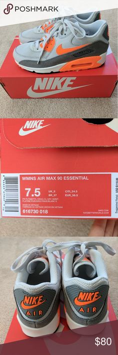 93fc0a07adbb New in box Air Max 90 Essential Gray and Orange New in box Air Max Size  women s These are brand new and comes with the original box.