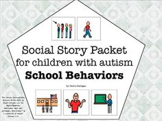 Visual Social Story Packet for Children with Autism: School Behaviors Set {7 social stories about common school behaviors. The stories included are: - Doing Homework - Walking in the Hallways - Raising Your Hand - Getting a Wrong Answer - Saying I Don't Know - Helping Your Teacher - Lunch Room Behavior}