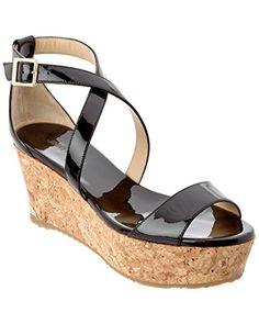 3280c3ce1 JIMMY CHOO Portia 70 Patent Cork Wedge Sandal