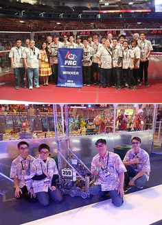 Waialua's The Hawaiian Kids (Team 359, pictured) and McKinley's Team Kika Mana (Team 368) topped their division at the FIRST Robotics Championship in St. Louis, MO. This year's challenge was RECYCLE RUSH — robots score points by stacking totes on platforms, capping those stacks with recycling containers, and properly disposing of pool noodles, representing litter. Way to go! #omgrobots