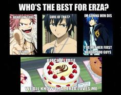 Natsu Dragneel, Gray Fullbuster, and Jellal Fernandes fighting over Erza Scarlet! All from Fairy Tail. But in the end she loves the cake more than Natsu, Grey and Jellal combined! Fairy Tail Ships, Fairy Tail Meme, Fairy Tail Quotes, Fairytail, Gruvia, Erza And Jellal, Manga Anime, Me Anime, Anime Stuff