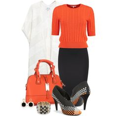 Office outfit: Orange - Black - White by downtownblues on Polyvore featuring Alexander Wang and Elizabeth and James
