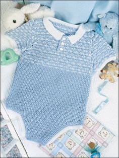 Crocheted baby boy outfits can be hard to find. Not any more! This darling outfits is simple yet stylish for the newest member of your family! Size: 6, 12 and 18 months. Made with fine (sport) weight yarn and sizes C/2/2.75mm and E/4/3.5mm hooks. Skill Level: Experienced