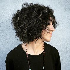 Black Curly Bob With Gray Highlights