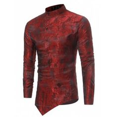 Free shipping 2018 Mandarin Collar Asymmetrical Hem Paisley Shirt CHESTNUT RED L under $19.00 in Shirts online store. Best Gym T Shirt and Sports T Shirt for sale at Dresslily.com.