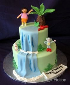 Dora the Explorer and Boots Jungle Waterfall Cake