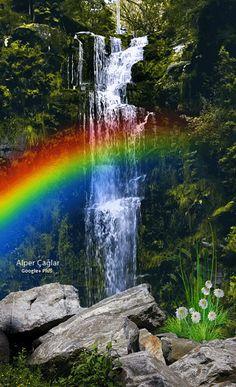 Animated pic of a rainbow/waterfall Beautiful Scenery Pictures, Beautiful Nature Scenes, Beautiful Nature Wallpaper, Beautiful Gif, Amazing Nature, Beautiful Landscapes, Beautiful Gardens, Beautiful Places, Rainbow Waterfall
