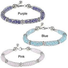 La Preciosa Stainless Steel Crystal-filled Mesh Bracelet | Overstock.com
