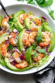 Seafood Recipes, Diet Recipes, Vegetarian Recipes, Cooking Recipes, Shrimp Salad Recipes, Simple Salad Recipes, Shrimp Meals, Low Carb Shrimp Recipes, Simple Shrimp Recipes