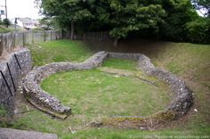 Ruins of Knights Templar Church, Western Heights, Dover, Kent, England, UK. Discovered in 1806, some authorities believe this is site where the Benedictine monk Matthew Paris says King John submitted to the papal legate Pandulph in May 1213. Circular nave imitates design of church of the Holy Sepulchre in Jerusalem, Israel. Oblong chancel. Order of Knights Templar founded 1118 to protect pilgrims visiting Holy Land. Norman Architecture, History. More at http://www.panoramio.com/photo/27995086