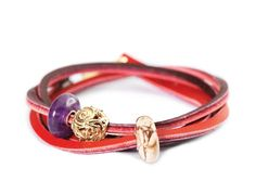 Simpel Red-BordeauxTrollbeads leather bracelet with Summer Stone beads (Limited Edition)