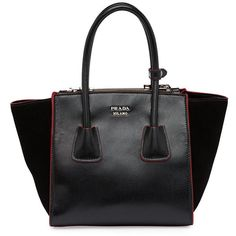 Prada Calfskin and Suede Mini Twin-Pocket Tote Bag (€2.020) ❤ liked on Polyvore featuring bags, handbags, tote bags, black, mini tote bag, tote handbags, mini tote, handbags totes and black tote handbag
