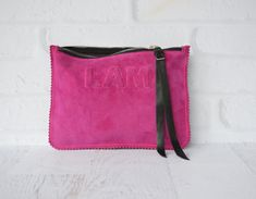 Small Fuchsia Suede Leather Clutch, Leather Pouch, Leather Monogram, Leather carryall, custom handmade to order with Initials