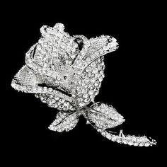 Large Shimmering Crystal ROSE Brooch by allysonjames on Etsy