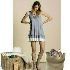Boho Style Sleeveless Double Ruffle Tunic Brand new. Proudly made in USA!  Super soft and flowing material. Wear alone or can use as an extender under top or kimono.  95% Rayon 5% Spandex Color: Slate (Blue-gray)  For 15% discount you may add to bundle. Otherwise, price is firm.  No Trades Easel Tops Tunics