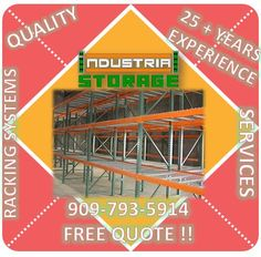 We have heavy duty pallet racks and racking systems that we fabricate, contact us for a free quote ! We also have outstanding services such as delivery, installation, relocation, teardown, high pile permits and much more ! contact us today 909-793-5914 www.industrialstoragesolutionsinc.com