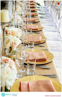 Peach and gold table scape for a beach wedding in The Caribbean. Brilliant Studios, Turks and Caicos