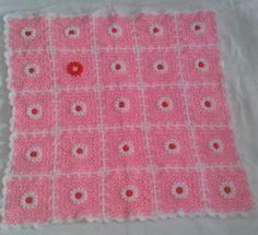 Pink Daisy Garden Baby Blanket | AllFreeCrochetAfghanPatterns.com