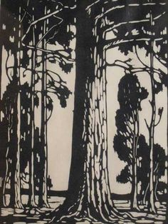 J H Pierneef - Photo Linocut Bluegum Trees Signed In The Plate 37 x 27 Woodcut Art, Linocut Prints, Art Prints, Summer Drawings, Black And White Tree, South African Artists, Tree Illustration, Illustrations And Posters, Lovers Art
