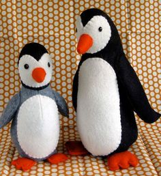 Poppy and Pip stuffed felt penguin PDF pattern by betzwhite, $12.95