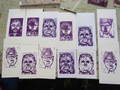 Lino cut portraits