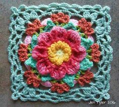This dainty, yet texture-rich vintage style square looks adorable in vibrant or muted colourways and the border is extremely easy to attach to its mates using a simple lacy join-as-you-go method. The square also works up quickly once you get past the first one.