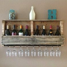 Reclaimed wood wine rack with top shelf- unfinished, love this for outdoor bar area
