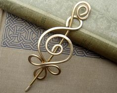 Celtic Budding Spiral Brass Shawl Pin, Scarf Pin, Sweater Brooch -Saint Patrick's Day Metal Wire, Celtic Accessories, Women, Sweater Closure...