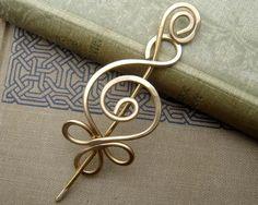 Celtic Shawl Pin / Scarf Pin or Brooch  Brass by nicholasandfelice, $18.00
