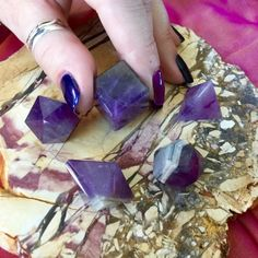 Amethyst Sacred Geometry Set to call upon the shapes of the Universe - Sage Goddess