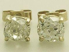 'Yellow Gold Diamond Stud Earrings'
