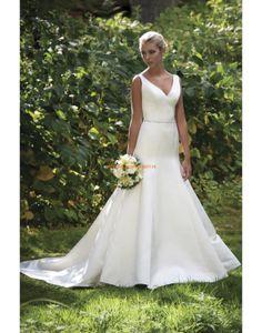 Schlichte Rückenfreie Hochzeitskleider aus Taft