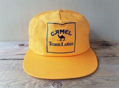 6b990743a3d CAMEL Team LOTUS Vintage 1980s Snapback Hat Solid Back Racing Yellow  Baseball Cap Formula 1 Indy Racing Rare Adjustable Ballcap Made in USA
