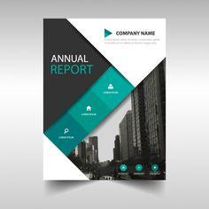 Preto modelo de anúncio verde da capa do livro relatório anual Vetor grá