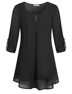 WAJAT Long Sleeve Blouses, Ladies Chiffon Pleated Dressy Tops Fashion 2018 Chinese Layered Swing Vintage Round Neck Fit Flare Tunic A-Line Trapeze Casual Wear Clothings Chic Plain Shirt Black L