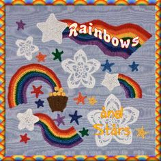 Rainbows and Stars motif crochet pattern.  A 12 page collection of motifs for you to crochet and use in your scrap-booking and card making.  But don't stop there!  Make them in anything you like and add them to your clothes and accessories for a truly original look.