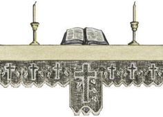 Cross Altar Cloth Edging Vintage Religious Filet Crochet Pattern for download