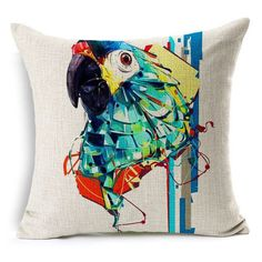 linen Decoration pillow cushion case Color oil painting animal parrot pattern printing Home car sofa Cushion cover Free shipping
