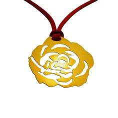 A pendant in the shape of a rose, design in a truly romantic way, entirely crafted by hand and offered with a red cord. An impressive gift for every special occasion. Dimensions: 4,5cm x 4cm Gold-plated 24K Bronze