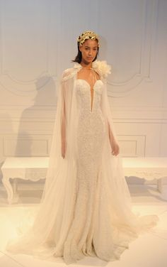 Beaded gown with plunging neckline and cape | Galia Lahav Spring/Summer 2017 | https://www.theknot.com/content/galia-lahav-wedding-dresses-bridal-fashion-week-spring-summer-2017