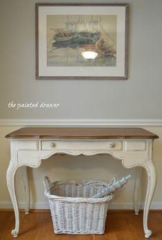 Vintage White Desk www.thepainteddrawer.com