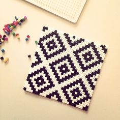 Geometric design coaster hama perler beads by mezasaurusrex Perler Bead Designs, Hama Beads Design, Hama Beads Patterns, Beading Patterns, Bracelet Patterns, Hama Beads Coasters, Diy Perler Beads, Perler Bead Art, Pearler Beads