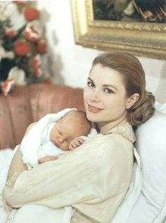 Princess Grace with her newborn son Prince Albert-March 1958